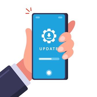 Aggiornamento di un vecchio telefono. scarica i dati per l'installazione. illustrazione piatta.