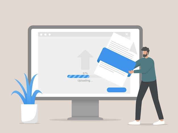 Carica l'illustrazione del concetto di file, l'uomo che interagisce con l'archiviazione dei dati, carica i file sul cloud.