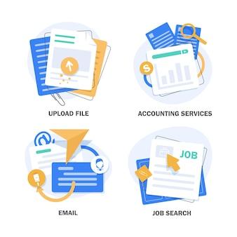 Caricare fileservizi di contabilitàemailricerca di lavorodesign piatto icona illustrazione vettoriale