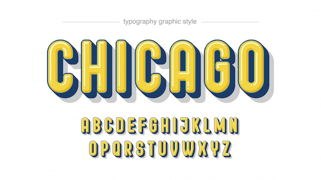Tipografia 3d giallo arrotondato grassetto maiuscolo