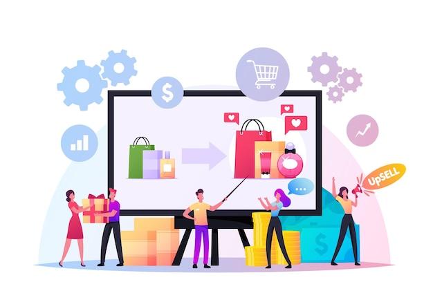 Concetto di upselling. piccoli venditori e compratori personaggi su huge pc. upselling marketing online, tecnica per una vendita più redditizia. promo per acquirenti, regali e bonus. cartoon persone illustrazione vettoriale