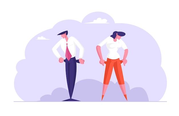 Uomo d'affari e donna d'affari sconvolti senza soldi