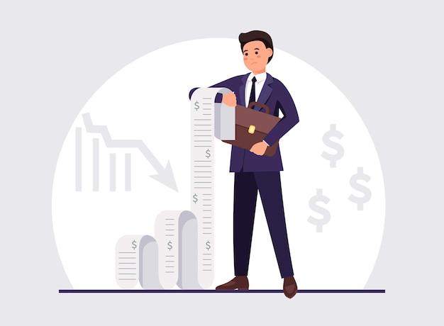Uomo d'affari sconvolto che tiene un lungo conto perdite finanziarie