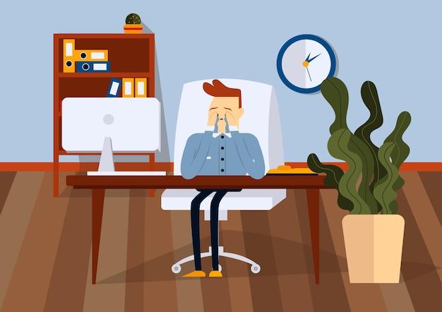 Uomo d'affari turbato che si siede sulla sedia dell'ufficio alla scrivania del computer. lui piange e si asciuga le lacrime con le mani. vista frontale. illustrazione del fumetto di vettore di colore