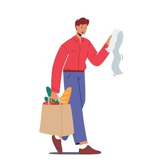 Personaggio maschile sconvolto scioccato dal prezzo dei prodotti nel concetto di negozio
