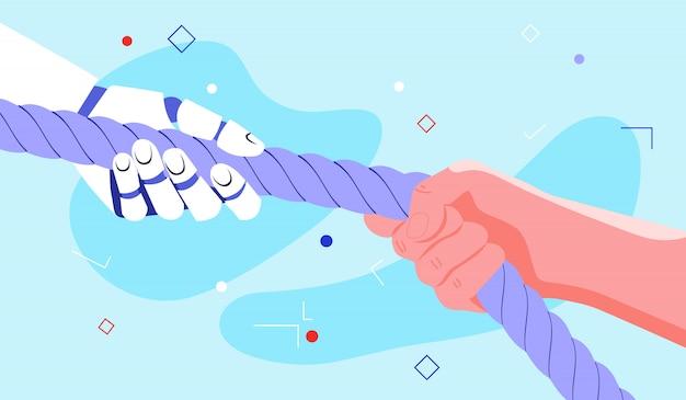 Concetto di potenziamento con il robot, che aiuta l'essere umano a fare il suo lavoro meglio e in modo più semplice