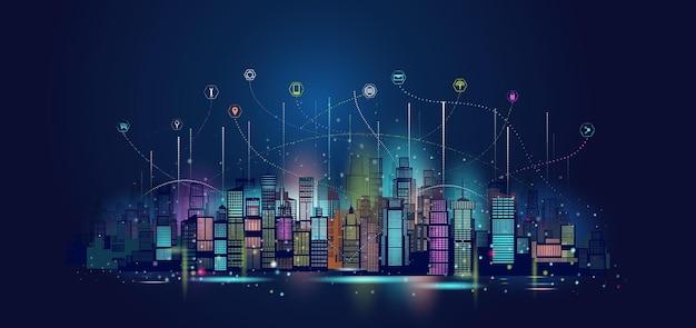 Tecnologia di architettura urbana comunicazione di rete wireless. città intelligente con illustrazione del grattacielo