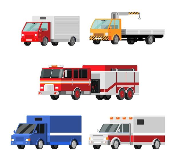 Set di icone vettoriali di auto urbane, città. ambulanza, camion dei pompieri, camion della posta, carro attrezzi, gru, camion, illustrazione di camion stile del fumetto