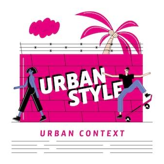 Fumetto di donna e uomo urbano e città di tema moderno e di stile