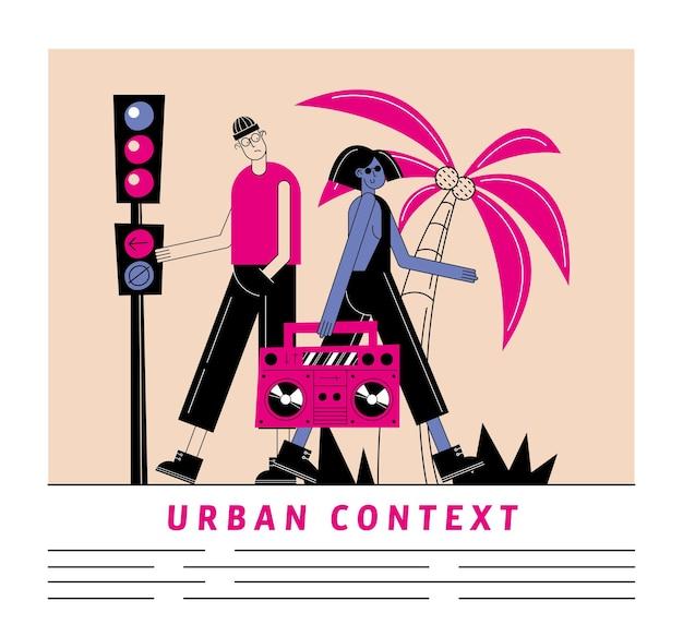 Fumetto di donna e uomo urbano e città con registratore di tema moderno e stile