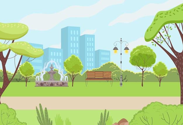 Illustrazione piana del giardino verde all'aperto di ricreazione del parco urbano di paesaggio urbano
