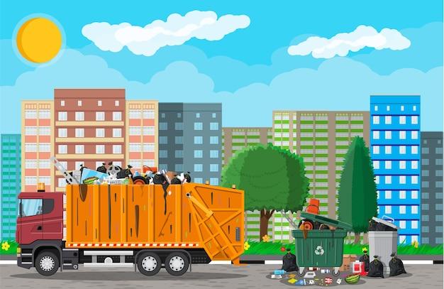 Paesaggio urbano urbano con automobile della spazzatura