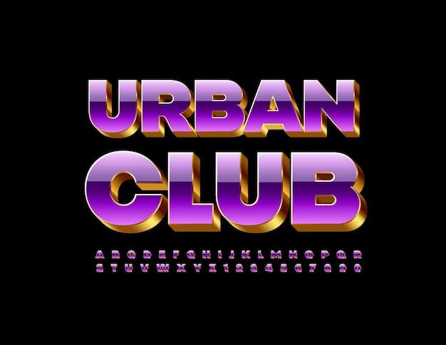 Urban club set di lettere e numeri di alfabeto 3d brillante di lusso di carattere brillante