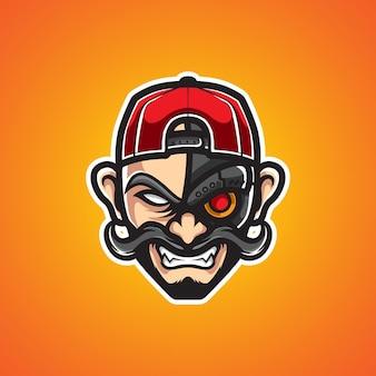 Urban cyborg uomo mascotte logo