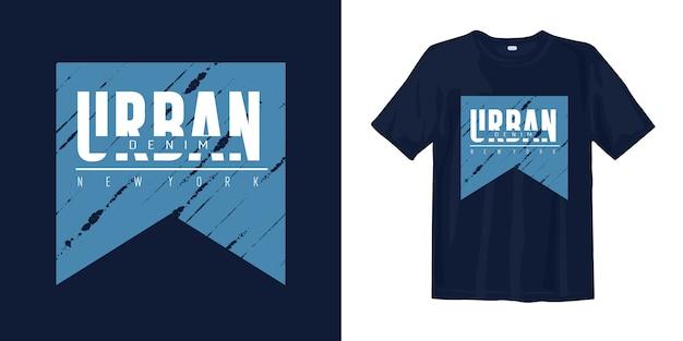 T-shirt new york in denim urbano