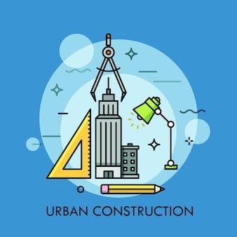 Progettazione e costruzione urbana, architettura, sviluppo della città e dello spazio pubblico, ambiente edificato, concetto di urbanistica. in stile linea sottile. Vettore Premium