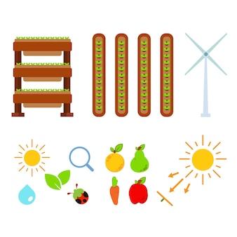 Illustrazione di agricoltura urbana. insieme dell'illustrazione dell'agricoltura. su sfondo bianco