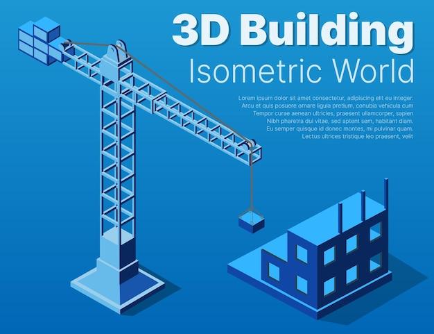 Piano piano architettonico isometrico industriale urbano. disegni tridimensionali della gru e piani di costruzione.