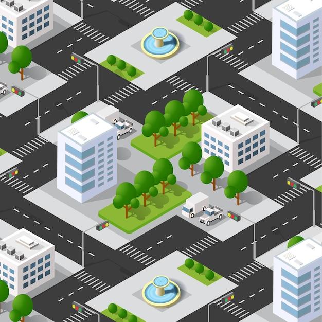 3d isometrico urbano del blocco urbano con case, strade.