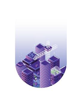 Paesaggio urbano o paesaggio urbano con edifici o grattacieli e gru all'interno di gocce o blob. sviluppo e costruzione della città, immobiliare. elemento di design moderno. illustrazione vettoriale isometrica colorata.