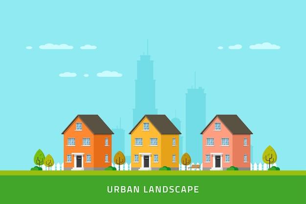 Paesaggio urbano, strada del centro con case a schiera, edifici moderni urbani e suburbani.