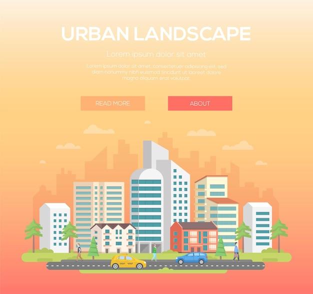 Paesaggio urbano - illustrazione vettoriale moderno con posto per il testo su sfondo arancione chiaro. bella città, città con grattacieli e piccoli edifici bassi, alberi, persone, automobili, nuvole nel cielo