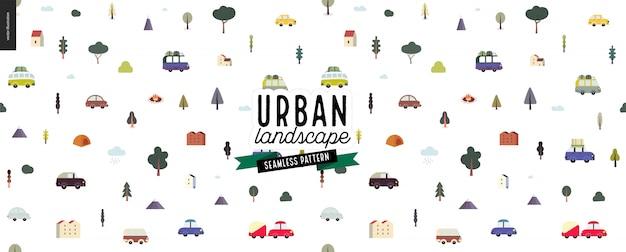 Modello senza soluzione di continuità del paesaggio urbano Vettore Premium