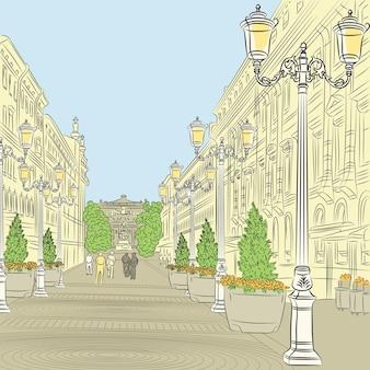 Paesaggio urbano, l'ampio viale con edifici d'epoca e bellissime lanterne a san pietroburgo, russia