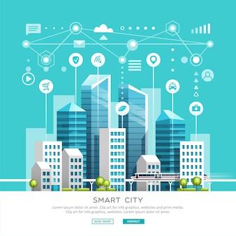Paesaggio urbano con edifici, grattacieli e traffico di trasporto. concetto di smart city con icone diverse. illustrazione.