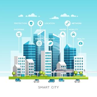 Paesaggio urbano con edifici, grattacieli e traffico di trasporto.
