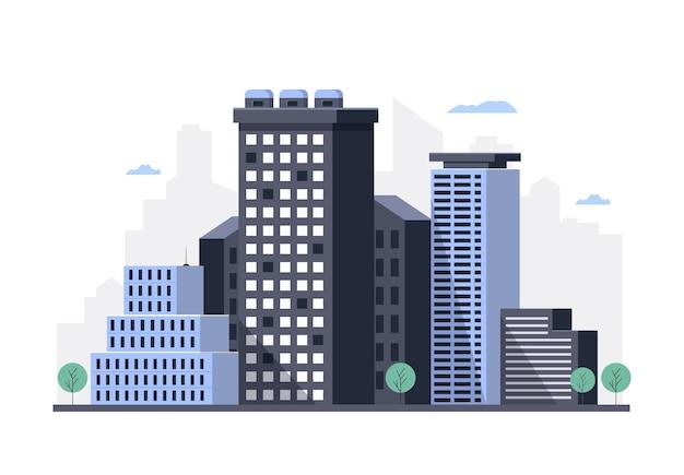 Paesaggio urbano con proprietari di immobili alti grattacieli