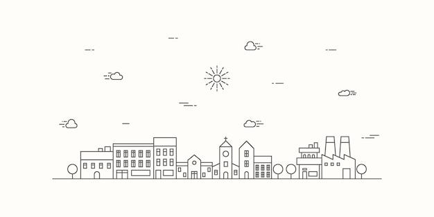Paesaggio urbano con uno stile di linea sottile. cityscape design linea piatta.