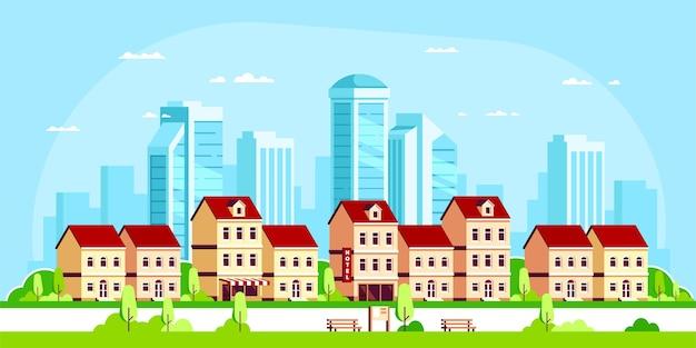 Paesaggio urbano con case a schiera e grattacieli