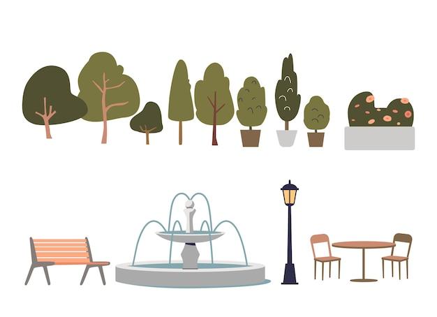 Elementi del parco urbano con alberi, cespugli, fiori, panca, torcia e fontana. concetto di spazio verde della città. collezione di decorazioni per esterni dei cartoni animati. illustrazione vettoriale piatta
