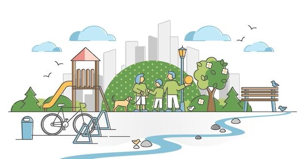 Parco urbano con zona verde della città per il concetto di contorno di ricreazione della natura della famiglia