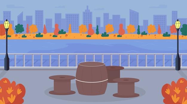 Illustrazione di colore piatto di area picnic urbano
