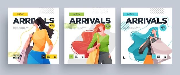 Set di banner per ragazze dello shopping urbano. ragazze di moda con borse della spesa. vettore Vettore Premium