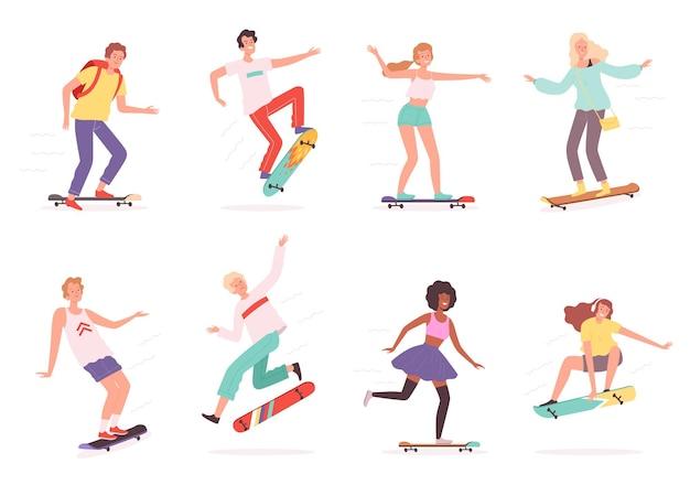 Skateboarder urbani. personaggi all'aperto cavalieri in azione posano pattinatori che saltano sullo skateboard vettoriale. skateboard e skateboard, skateboarder attività sportiva illustrazione all'aperto