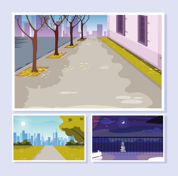 Set di scene di strada urbane