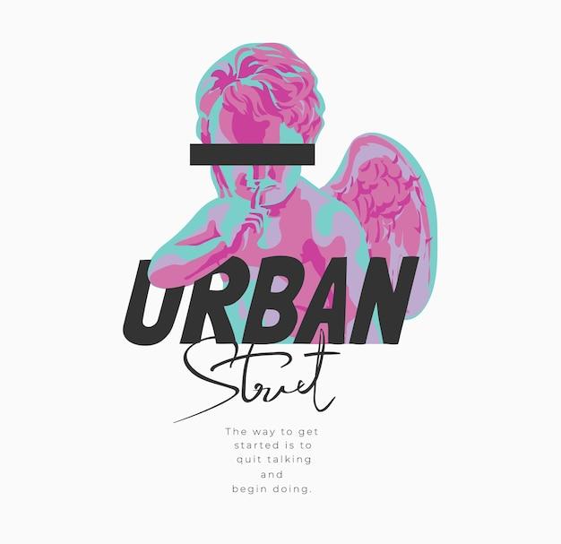 Slogan di strada urbana con illustrazione grafica di scultura angelo bambino