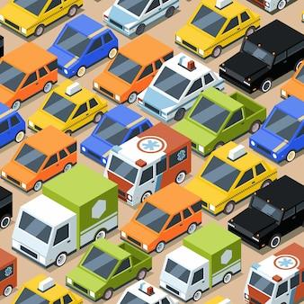 Modello di traffico urbano. inceppato città trasporto automobili autobus van seamless pattern