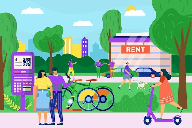 Il servizio di trasporto urbano affitta il carattere delle persone insieme affitta il motorino della bicicletta e l'automobile personale...
