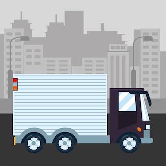 Paesaggio urbano di trasporto di consegna camion urbano