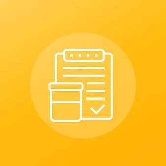 Risultati del test delle urine, icona del vettore di linea