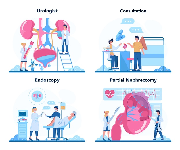 Set di concetto di urologo.