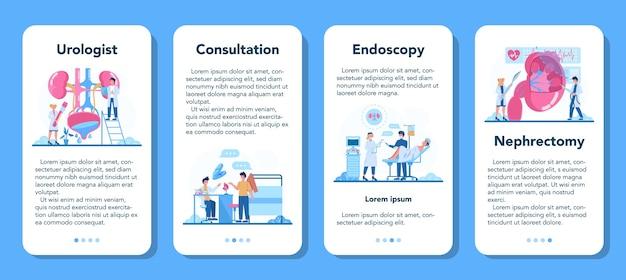 Set di banner per applicazioni mobili urologo