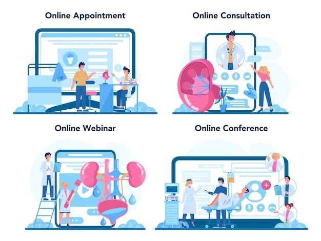 Servizio online di urologo o set di piattaforme