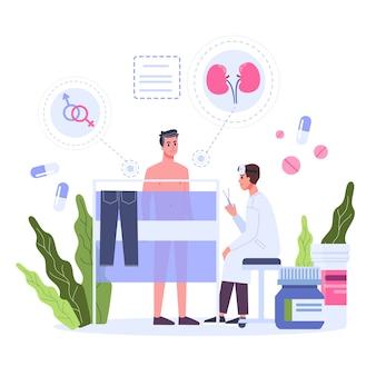 Concetto di urologia. idea del trattamento dei reni e della vescica l'urologo esamina un paziente. idea di assistenza sanitaria e trattamento professionale. illustrazione