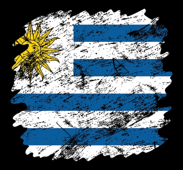 Priorità bassa della spazzola del grunge della bandiera dell'uruguay. vecchia illustrazione vettoriale di bandiera pennello. concetto astratto di sfondo nazionale.