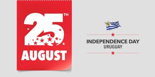 Bandiera dell'uruguay felice giorno dell'indipendenza. giornata nazionale uruguaiana il 25 agosto con bandiera